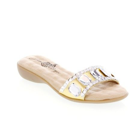 HSN CLEARANCE - Joan Boyce Large Jeweled Flat Slide-On Sandal