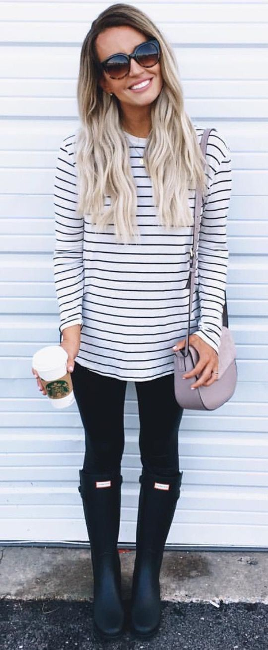 Casual Fall outfit with a striped shirt and Hunter boots.                                                                                                                                                                                 More