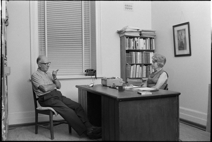 319514PD: Miss Mollie Lukis conducting an oral history interview at the J.S. Battye Library of West Australian History and State Archives, 1969   https://encore.slwa.wa.gov.au/iii/encore/record/C__Rb3430661