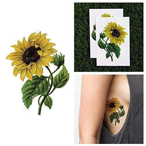 Tattify Temporary Tattoo, Sunny Disposition Sunflower (Set of 2). Latest temporary tattoo designs made fashionable for any setting. Sizes vary depending on design. Completely waterproof lasting anywhere between 1 to 5 days; Just add water to apply. Quick application in under 1 minute to look and feel great. Top quality nontoxic materials used to ensure safe application.