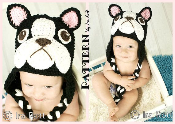 PATTERN  Oscar The French Bulldog Hat  Crochet by FashionPatterns, $6.50