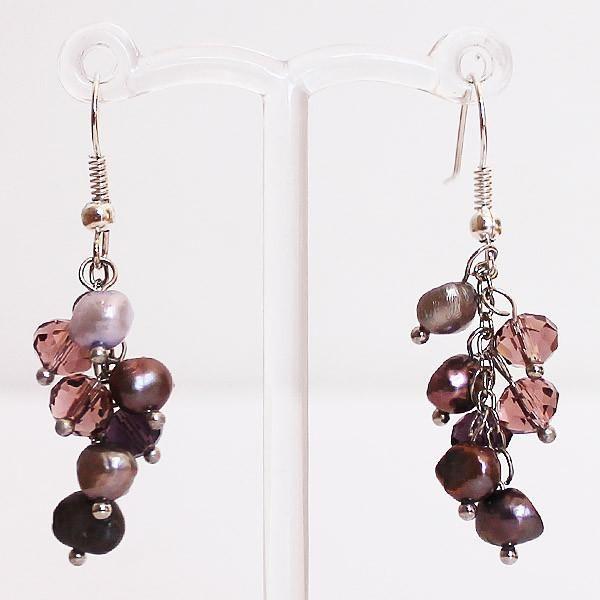 Earrings - Delicate Purple Pearl & Crystal Drop