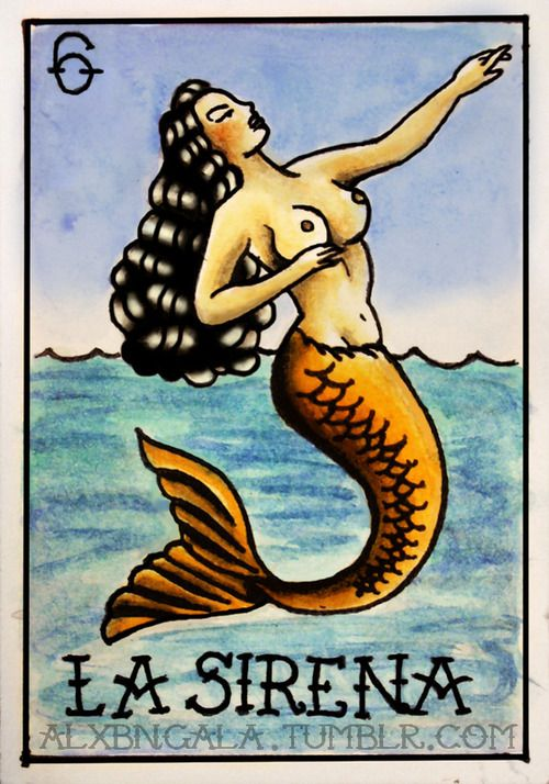 Pin Up Mermaid Tattoo | loteria pin up tattoo loteria mexicana la sirena tattoo flash ...
