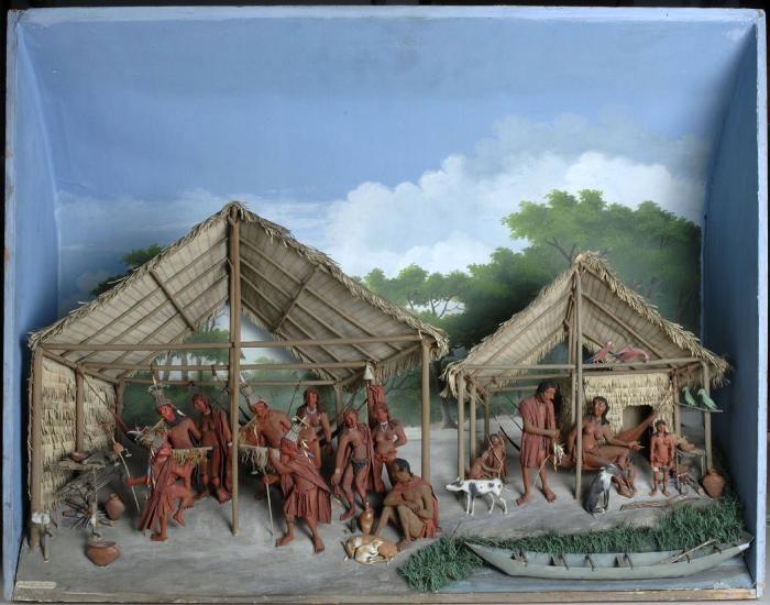 In de hut links dansende Indianen, twee op de voorgrond, fraai uitgedost en dans uitvoerend, terwijl anderen in een rij erachter. Rechts op de voorgrond een zittende figuur met twee honden aan de voeten. In de hut rechts een vrouw in een hangmat, een man die thuiskomt van het vissen, vier kinderen er omheen, nog wat honden en een kano.