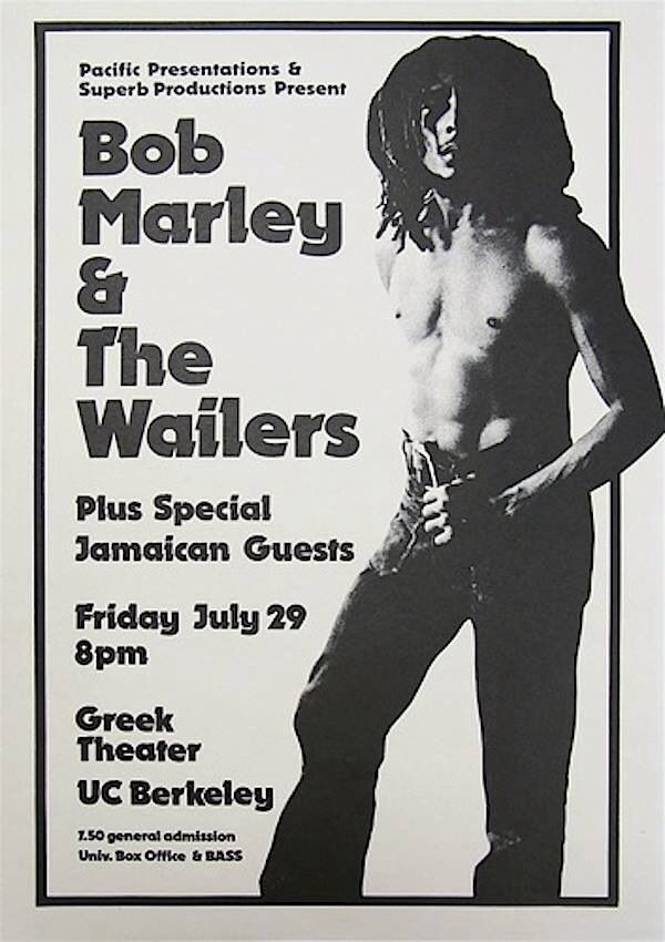 """Bob Marley concert poster 
