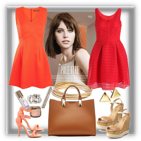 Orange love by milkalilien on Polyvore featuring Comptoir Des Cotonniers, Anne Michelle, Salvatore Ferragamo, Karl Lagerfeld, Madewell and Lauren Ralph Lauren