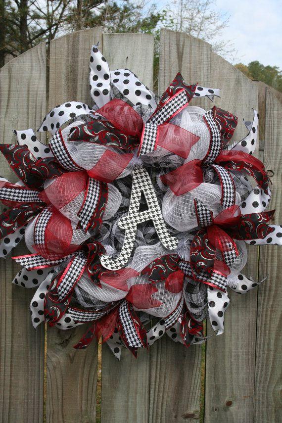 Alabama Wreath Mesh Wreath Houndstooth Wreath by 3frenchhensnet, $69.00
