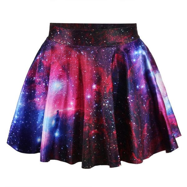 Women High Waist Galaxy Printed Pleated A-Line Mini Skirt ❤ liked on Polyvore featuring skirts, mini skirts, high waisted a line skirt, galaxy print skirt, high-waist skirt, pleated miniskirt and short a line skirt