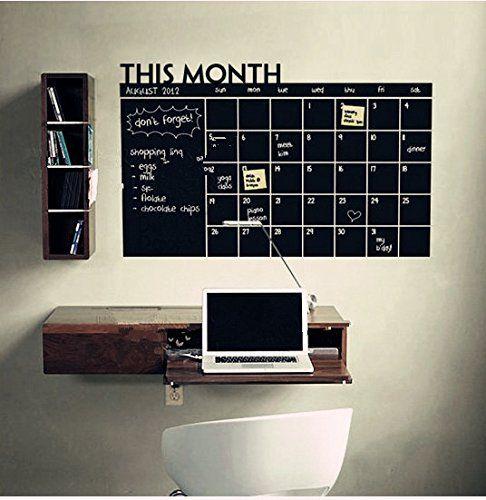Diy mensuel autocollant mural vinyle calendrier tableau for Calendrier digital mural