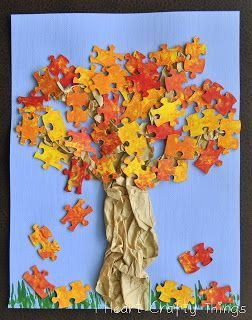Fall colored leaves made from puzzle pieces