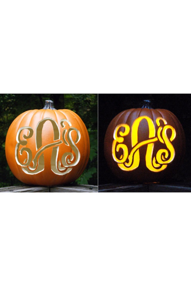 22 best images about pumpkin carving templates on pinterest for Monogram pumpkin templates