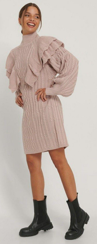 Rosa Volant Rollkragen Strickpullover Kleid Damen Kleider Mode Damen Mode