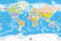 World Political Wall Map Mural