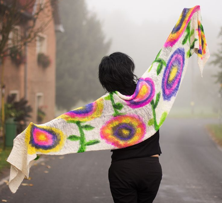 Plaid - shawl - hanspun, knitted, painted