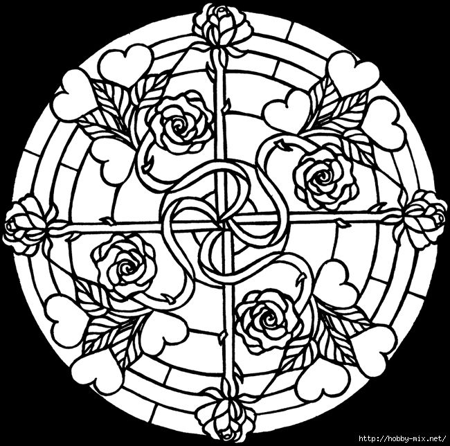 Hearts And Roses Stained Glass Coloring Book Dover Publications Samples