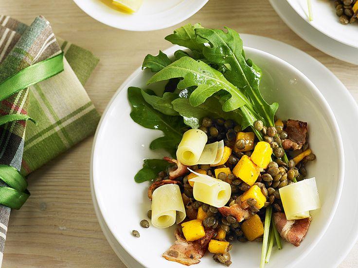 Salade de lentilles au lard et au sbrinz