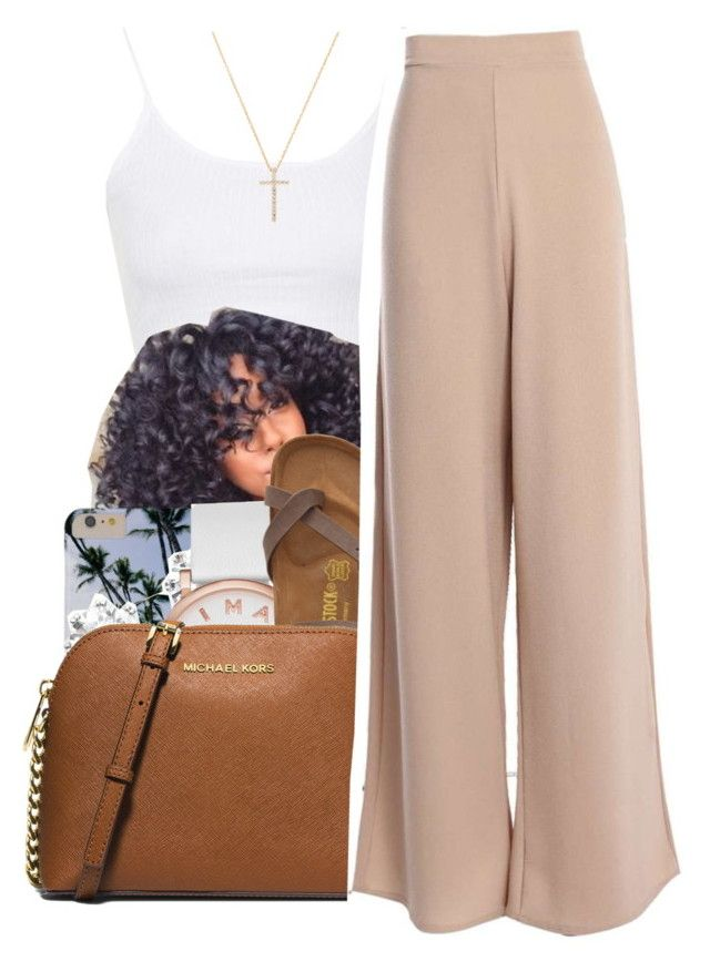 """""""7/17/16"""" by lookatimani ❤ liked on Polyvore featuring Topshop, Kenneth Jay Lane, Marc Jacobs, Birkenstock, MICHAEL Michael Kors and Nephora"""