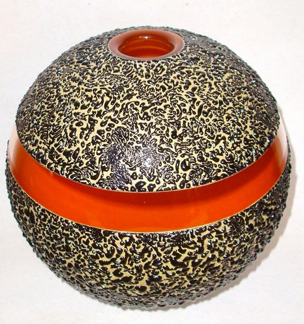 """Mieke Groot, Artist, """"Untitled II"""", vase, free blown and enamelled (layers of sand mixed enamel applied to glass form)  H. 91/2 Diam. 10 inches  H. 25  Diam. 26 cm, #ArtonTap"""