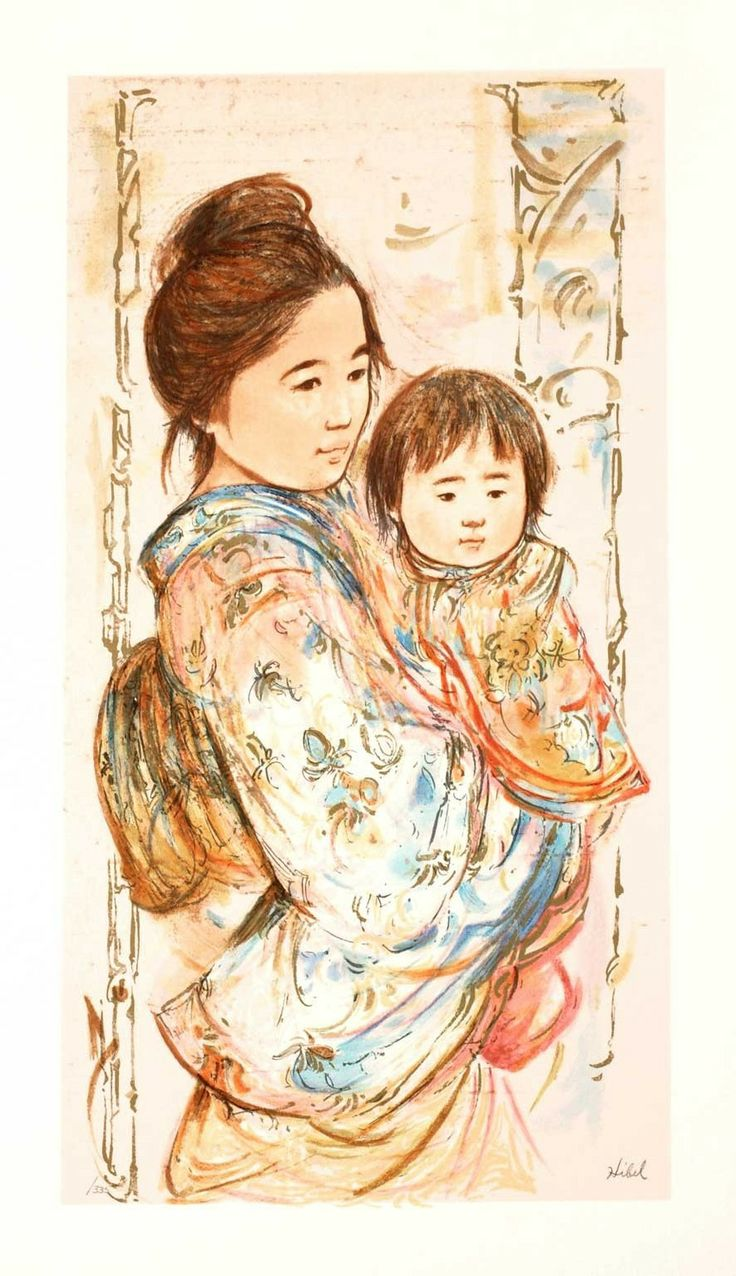 Asian mother, beautiful. Childrens Day Limited Edition Serigraph by Edna Hibel