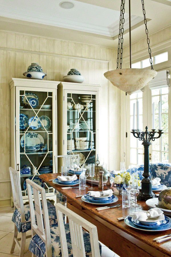 Add Pattern with your China - 79 Stylish Dining Room Ideas - Southernliving. Let your china provide a dining room's color and pattern. It's the secret to classic style that's not overdone.  See the rest of this dining room