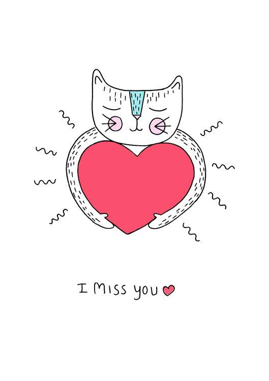 I miss you - cat illustration Illustration by: Rikkes Bix