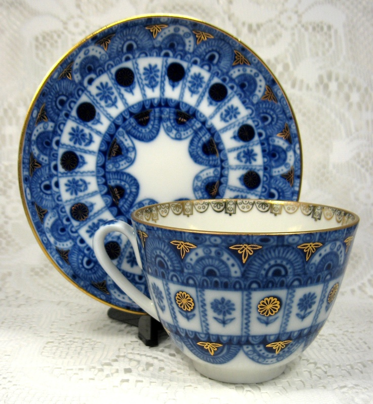 Lomonosov Russian Cup And Saucer Blue White by AntiquesAndTeacups