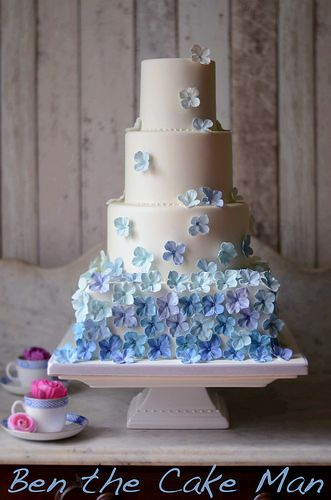 Blue Hydrangea wedding cake.