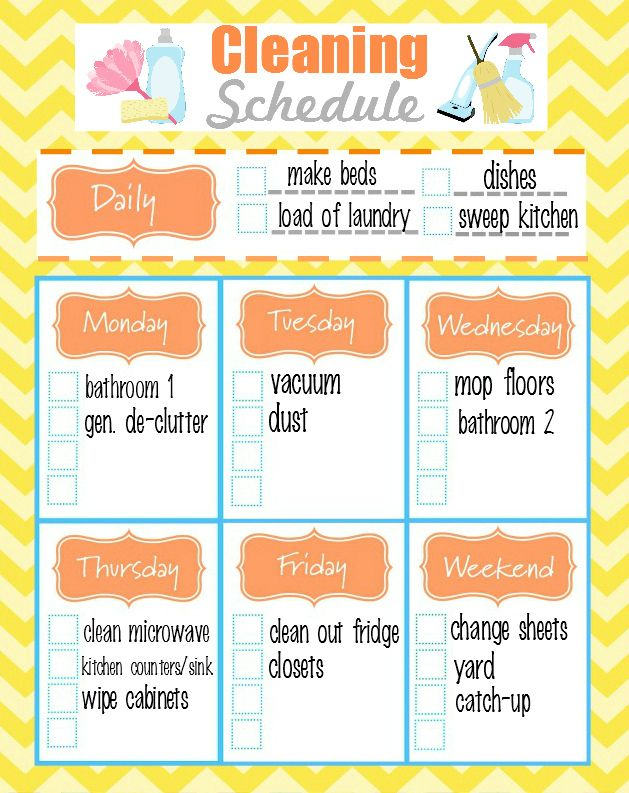 Free Printable Weekly Cleaning Schedule Homemade All