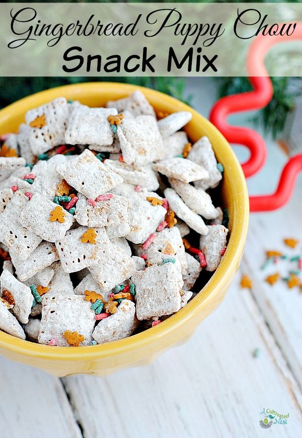 Delicious gingerbread puppy chow snack mix! This recipe is perfect for Christmas since it's a gingerbread flavor! It only takes a few ingredients and you'll have the perfect party or snack mix that's delicious, quick and easy!