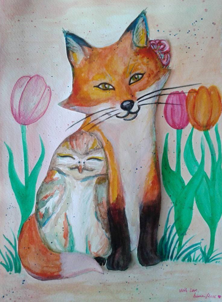 Owl and Fox Watercolor Painting for A Dear Friend