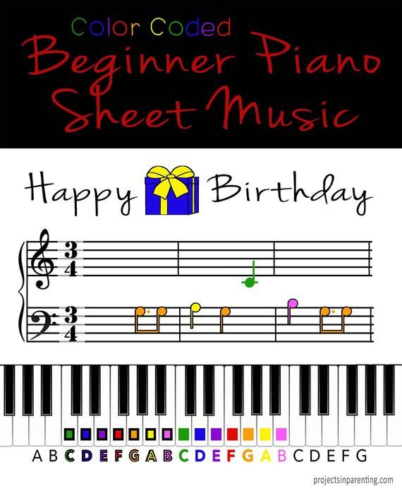 Happy Birthday Color Coded Beginner Piano Music Sheet With Images