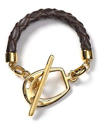 Braided leather and gold bracelet to compliment any casual look. Cute