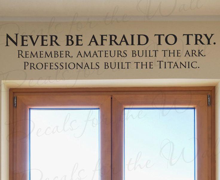 Non abbiate paura di provare . Ricordate , dei dilettanti hanno costruito l' arca, mentre  professionisti hanno costruito il Titanic.