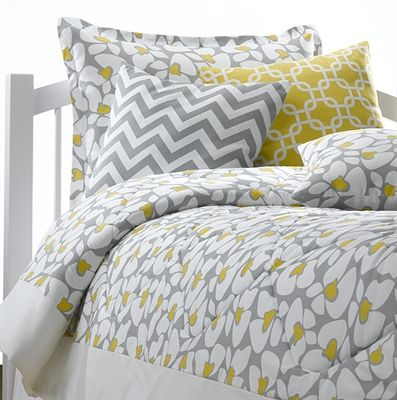 Poppy Bedding Set with gray chevron and yellow metro accent pillows. All bedding made to order ...