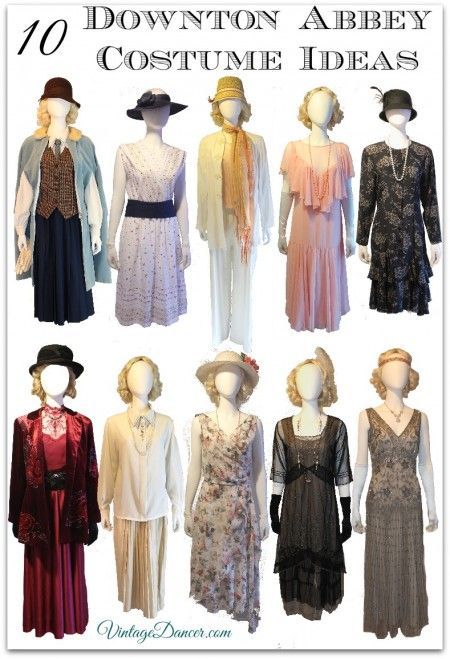 10 Downton Abbey Costume ideas. DIY, thrifted and new clothing to use for your 1920s Downton Abbey inspired fashion. See these in detail at  VintageDancer.com