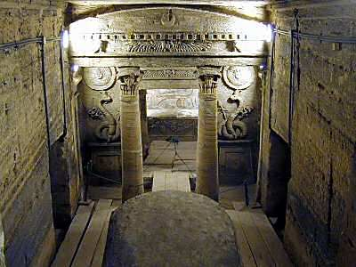 The Catacombs in Alexandria are so called because the design was very similar to the Christian Catacombs in Rome. Most likely it was a private tomb, later converted to a public cemetery. It consists of 3 levels cut into the rock, a staircase, a rotunda, the triclinium or banquette hall, a vestibule, an antechamber and the burial chamber with three recesses in it; in each recess there is a sarcophagus. The Catacombs also contain a large number of Luculi or grooves cut in the rock.