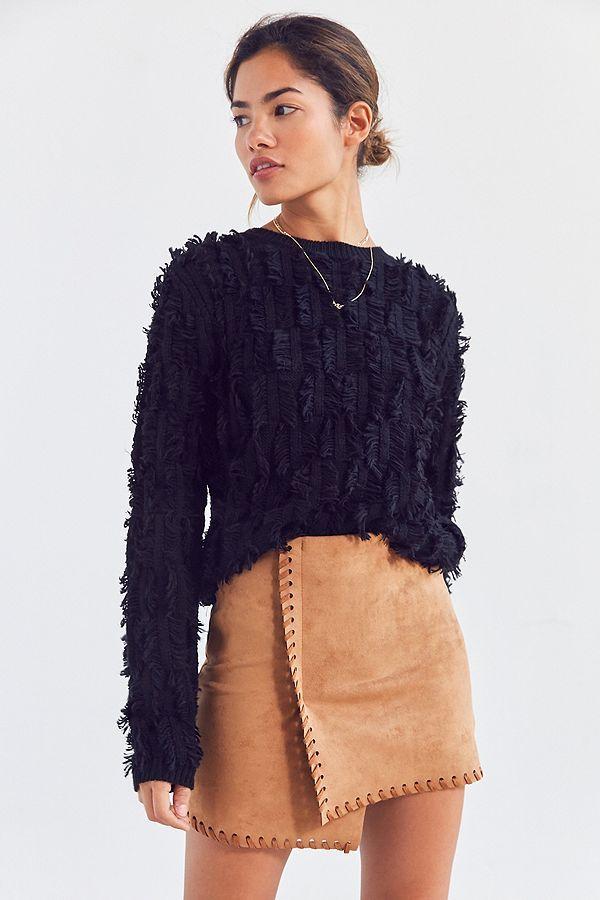 Slide View: 1: Haute Rogue Allison Whip Stitch Wrap Skirt