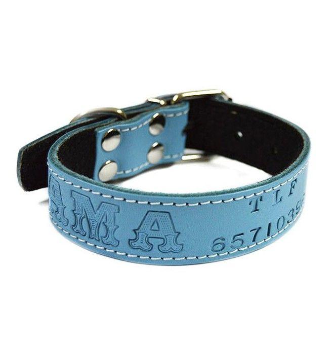 Collares para perros Personalizados Piel Vaquetilla Celeste