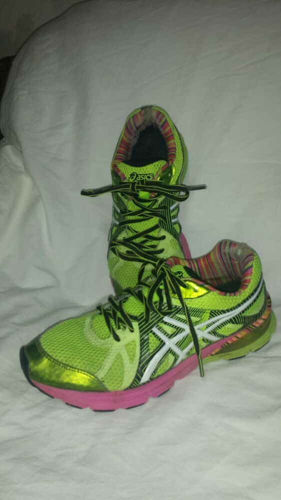 d7ae6c5716d Asics safety yellow and pink running shoes size 8.5M  fashion  clothing   shoes