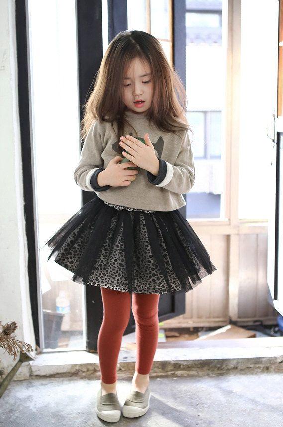 Girls tutu skirt for Halloween, Everyday, special design! black tulle leopard inner skirt for Autumn winter 24M~10Years old Made to order