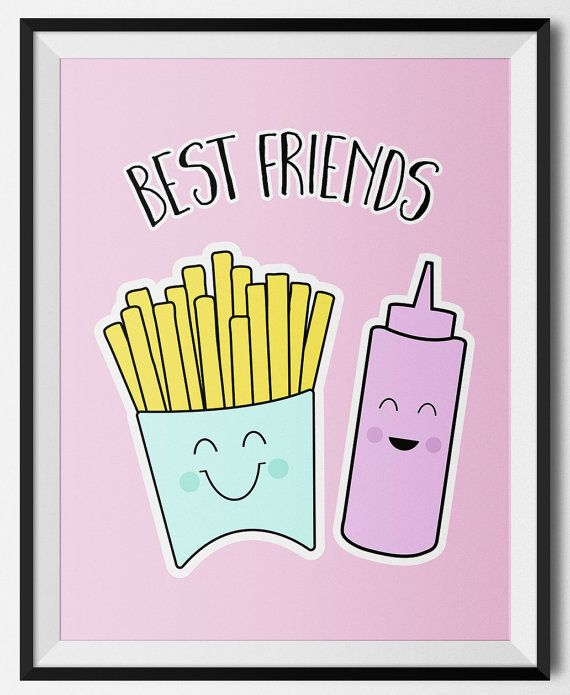 This kawaii style french fry and ketchup illustration is perfect for a twin's nursery!