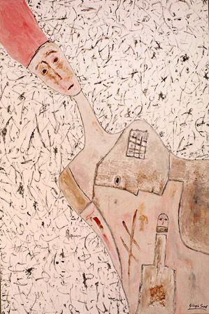 And wanders the harmony in this valley, in 2001, sand, pigments, synthetic wax on canvas 210x240 cm