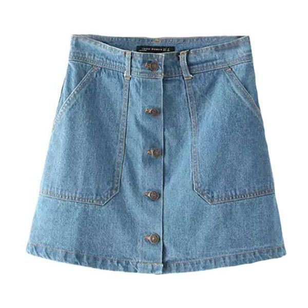 Suzie B Button Down Denim Skirt ($23) ❤ liked on Polyvore featuring skirts, mini skirts, bottoms, blue, pocket skirt, blue denim skirt, mini skirt, button-down skirts and blue mini skirt