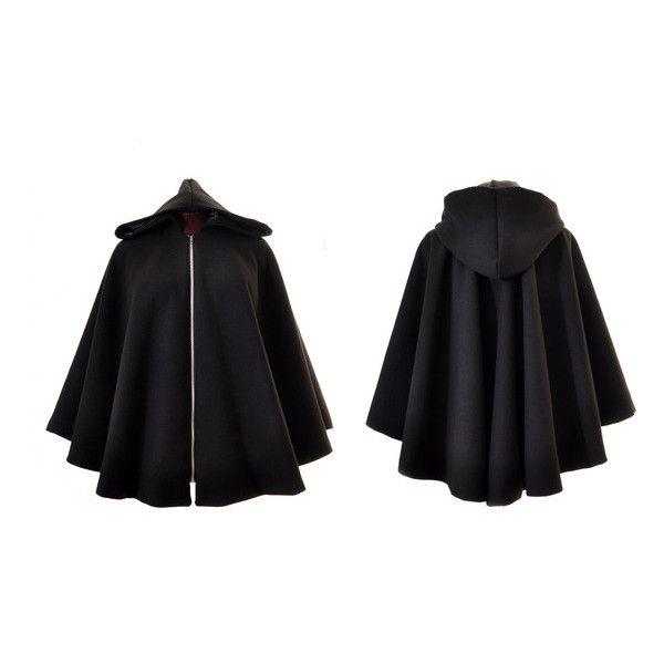 Cape capuche zippé noire doublée (€140) ❤ liked on Polyvore featuring outerwear and cape coat