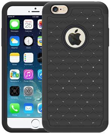 """Iphone 6 / 6 plus Mobilskal svart med """"diamanter"""". Läs min blogg på - http://blogg.e-zystore.se/#home - då får du veta hur många Smartphones tappas/skadas varje år i USA. Det är helt otroligt"""