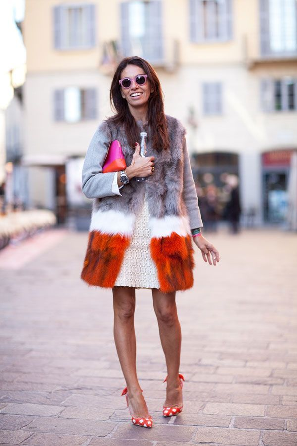 layered color on fur coat