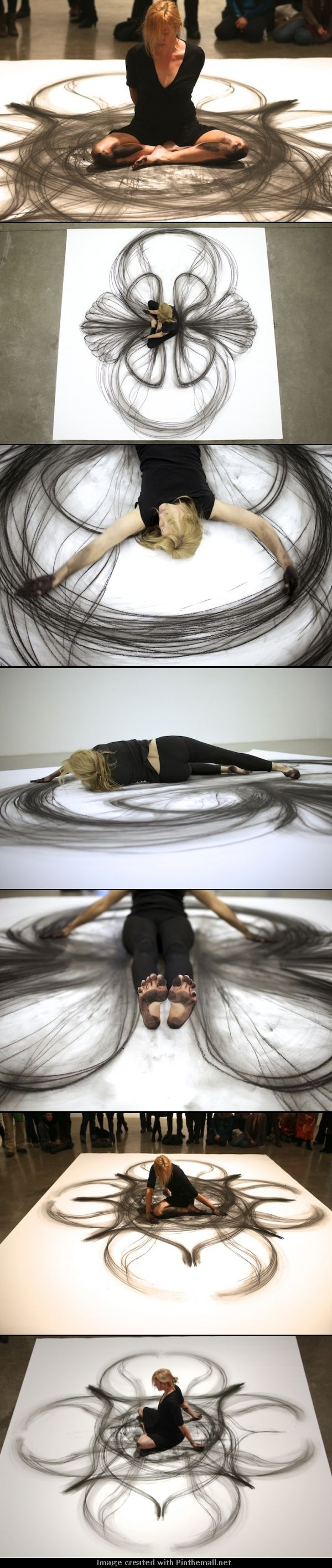 Emptied Gestures: Physical Movement Translated into Symmetrical Charcoal Drawings by Heather Hansen performance