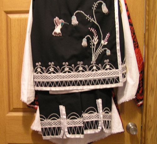 Hummingbird Wedding outfit by Ms. Webster of the Oneida Nation, Wisconsin, Skirt & leggings -- simply gorgeous!