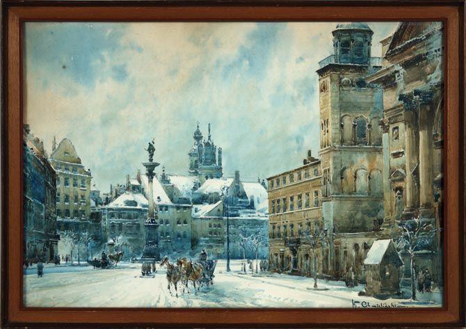 Wladislaw CHMIELIMSKY (1911-1979) Winter scene Watercolor on paper, signed lower right