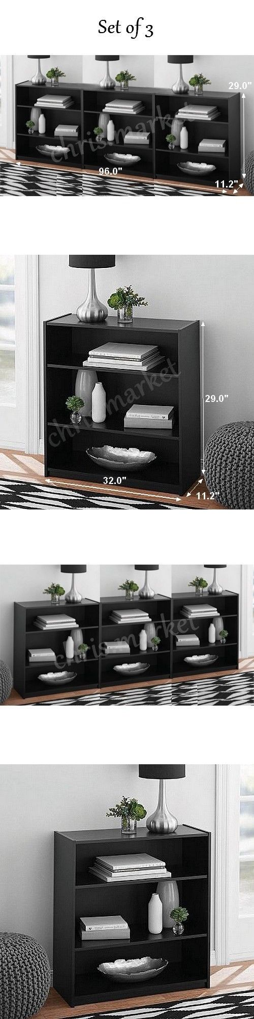 Bookcases 3199: Mainstays 3-Shelf Bookcase Set Of 3 Storage Furniture Bookshelf Black-Oak New! -> BUY IT NOW ONLY: $59.89 on eBay!